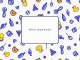 kid's blue yellow seamless doodle pattern