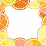 Frame of orange grapefruit
