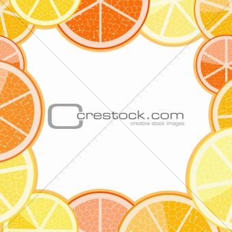 Frame of orange grapefruit