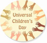 Color hands around the text (sticker), universal children's day