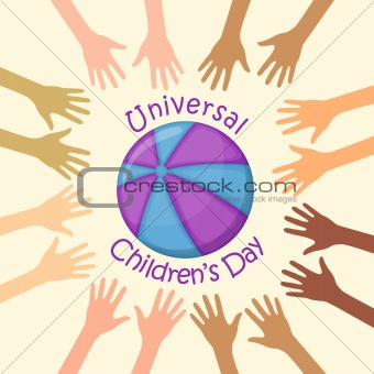 Color hands around the ball, universal children's day