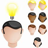 People Heads with Creativity Light Bulb
