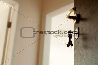 Open door with keys.