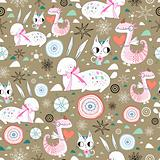New Year's dragon texture of rabbits and cats