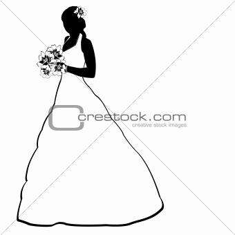 Bride silhouette on white