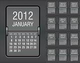 editable 2012 calendar on mechanical scoreboard