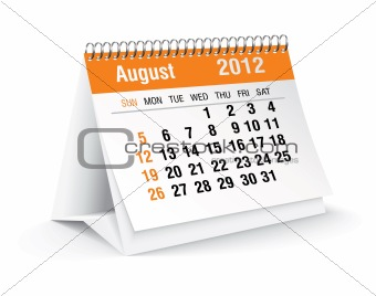 august 2012 desk calendar