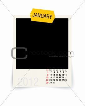 2012 january calendar with blank photo frame