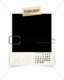 2012 february calendar with blank photo frame