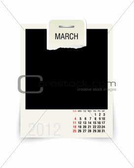 2012 march calendar with blank photo frame