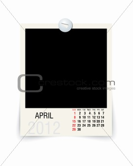 2012 april calendar with blank photo frame