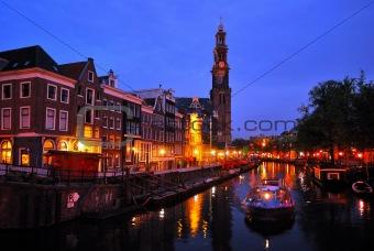 Amsterdam. Channel Prinsengraht at night