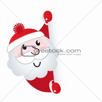 Santa Claus holding blank banner sign, isolated on white