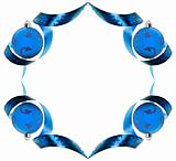 Decorative border made of blue ribbon swirls