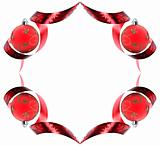 Decorative border made of red ribbon swirls