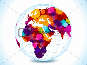 abstract colorful circles globe