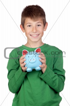 Adorable boy with a blue moneybox