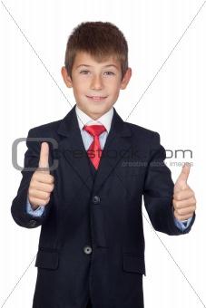 Little businessman saying Ok