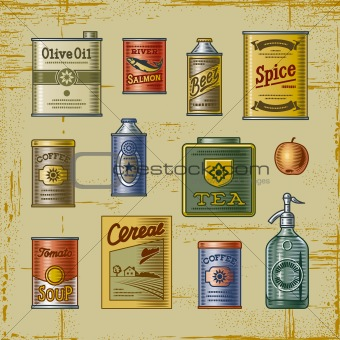 Retro grocery set
