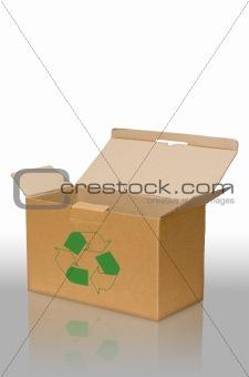 Open recycle brown paper box on floor