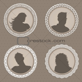Antique style people avatars