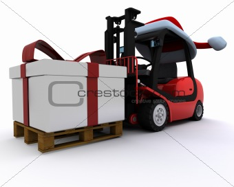 Forklift truck with christmas gift box