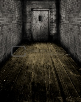 Grunge Interior with a prison door