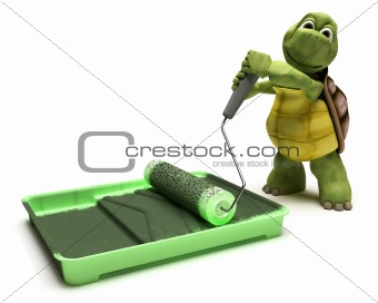 Tortoise with paint roller