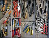 work tools in drawer