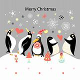 Greeting card with happy penguins