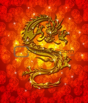 Golden Metallic Chinese Dragon on Red Blurred Background