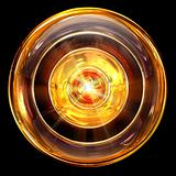 Record icon fire, isolated on black background
