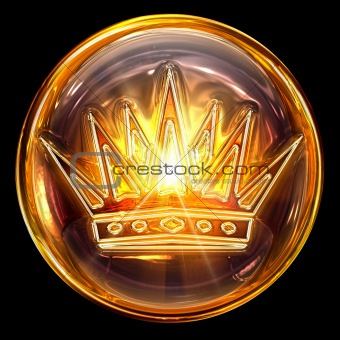 Crown icon golden, isolated on black background