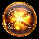 Scissors icon golden, isolated on black background