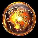 globe icon gold, isolated on black background