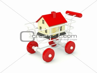 House in shopping cart isolated on white