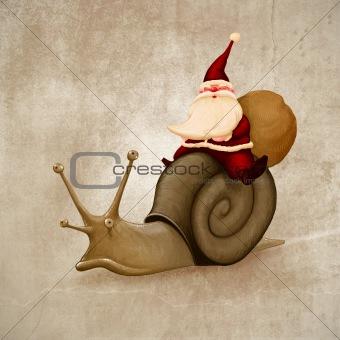 Santa Claus rides a snail