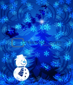 Abstract Christmas Tree Snowman on Blue Background