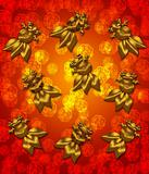 Golden Metallic Chinese Goldfish on Red Blurred Background