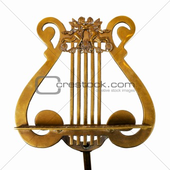 Antique music stand, made of  bronze, on white background