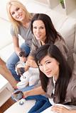 Interracial Group Three Women Friends Drinking Wine Together at 