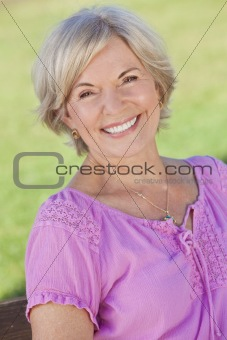Outdoor Portrait Happy Senior Woman