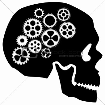 Skull with Gears Clipart