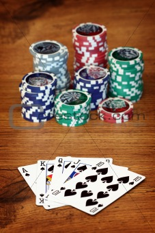 Playing poker concept