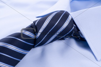 Tie knot tied on a shirt