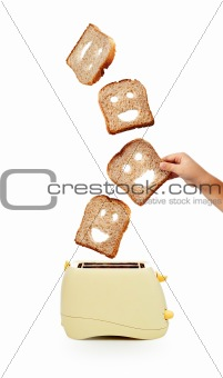 Toast bread and toaster on white