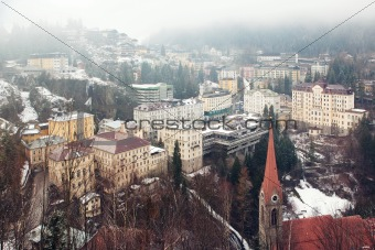 Aerial view down on Bad Gastein (Austria, Alps)