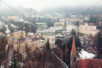 Aerial view down on Bad Gastein (Austria, Alps)