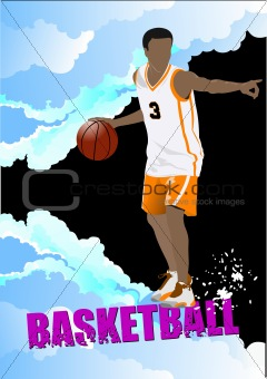 Basketball players poster. Colored Vector illustration for design