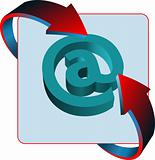 At mail sign contact vector icon